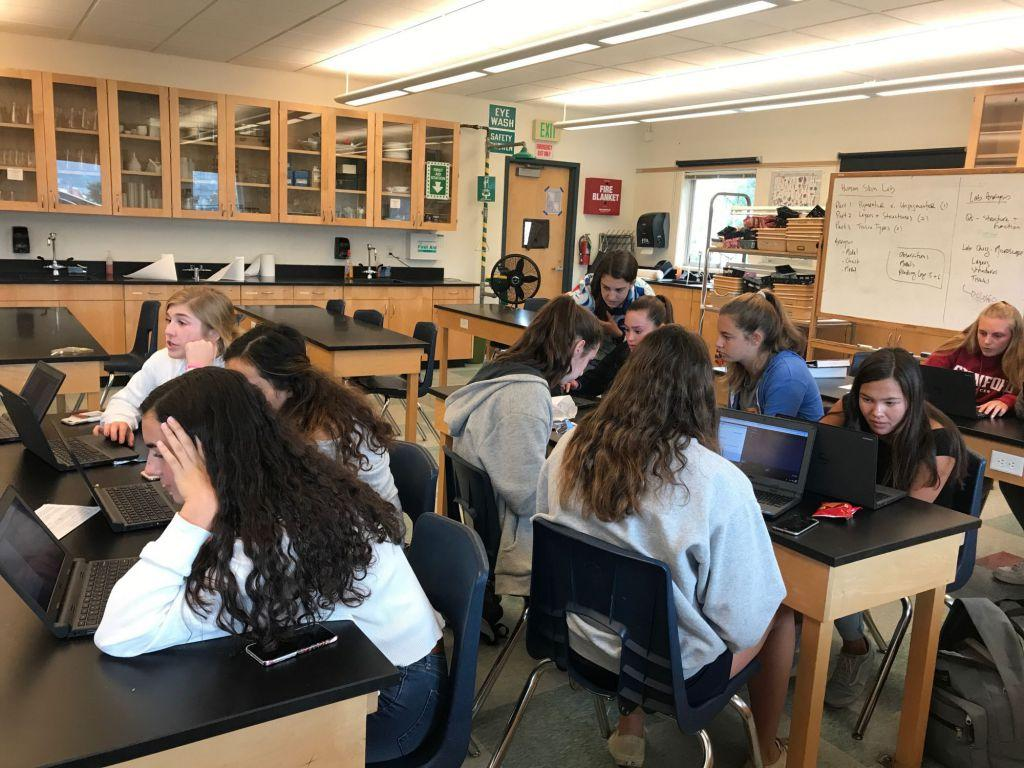 The Girls Who Code club meet together during lunch.