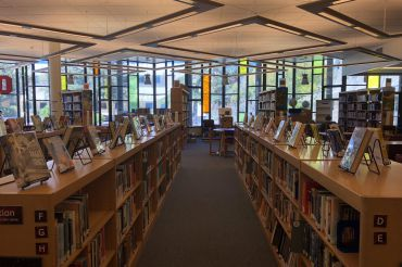The Redwood High School library services hundreds of students educational needs everyday.