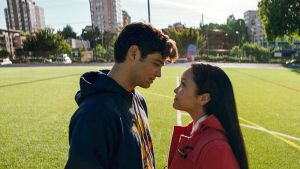 Lara Jean Covey, played by Lana Condor, shares a special moment with her fake boyfriend, Peter Kavinsky