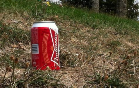 This beer can was found with several others behind the amphitheater Friday, August 31, at noon following the destruction of the Kreitzberg amphitheater sign.