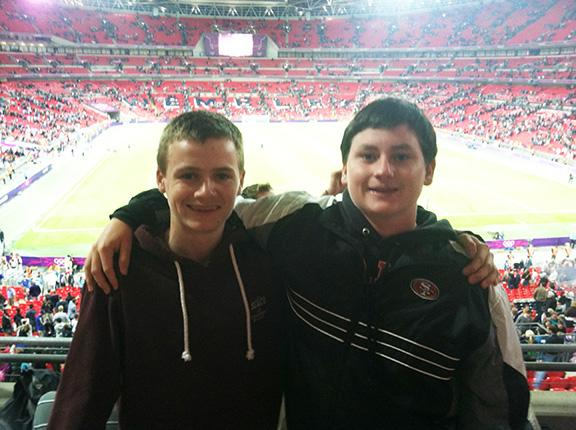 Junior Jake Horan (right), with his friend Joe Cochrane (left) from England, at a preliminary men's soccer match at the 2012 London Olympics.