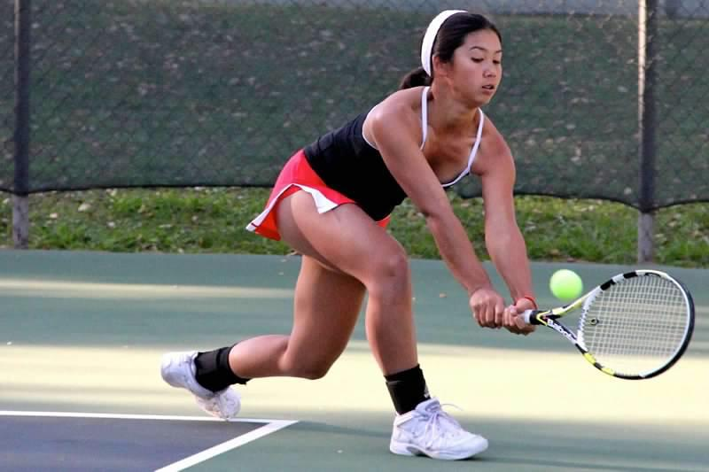 Keiko Kamei lunges for the ball in a tennis match at the California High School Tennis Classic in Fresno on Sept. 7 and 8. Kamei was ranked one on the Redwood team for the Fresno tournament.