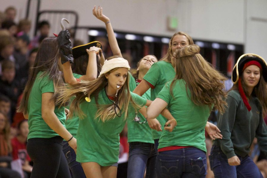 Green? The freshmen perform their best impersonation of the Drake Pirates while spectators boo the rival school.
