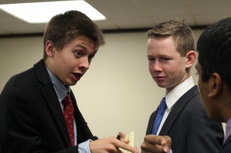 Junior Tom Cline in last weekend's Model United Nation's conference at Stanford University.