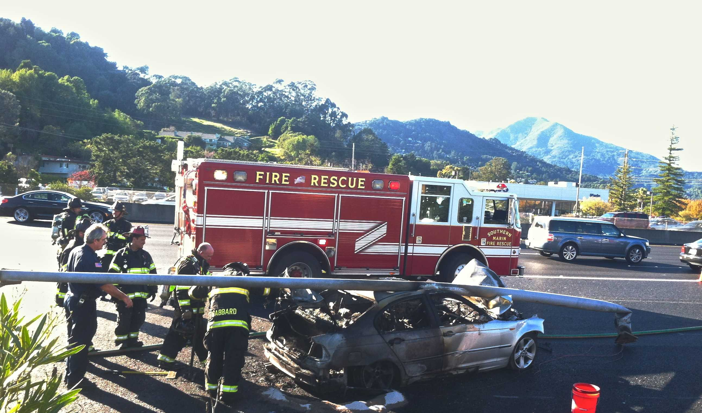 Car crash starts fire on Tamalpais offramp