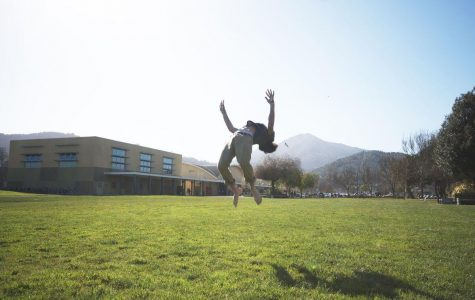 Junior Josh Morris practices parkour on the South Lawn.