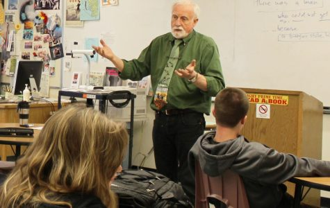 RUSSELL HILL TEACHES an AP Language and Composition class as the long-term substitute for English teacher Emily LaTourrette.