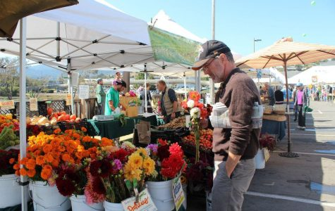 THE SWEET AROMA of fresh flowers, fruits, and hot organic meals fills the air of the Marin County Farmers' Market as local shoppers browse the stands.