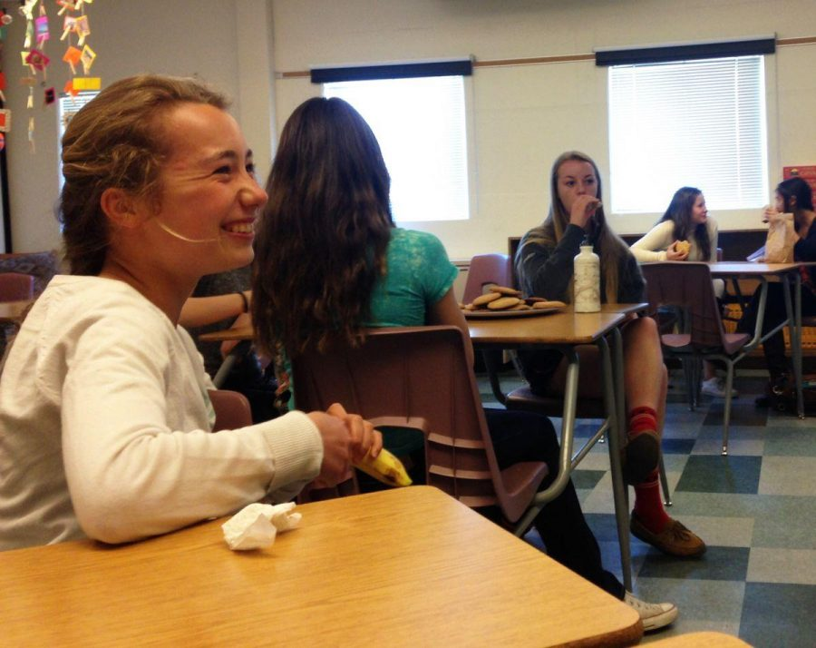 Freshman Magali de Bruyn laughs at a joke made during Body Positive Club on Tuesday.