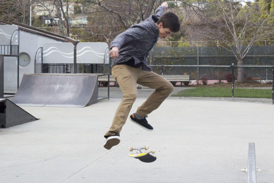 SOPHOMORE KARL TIETZE skates at Corte Madera Park.