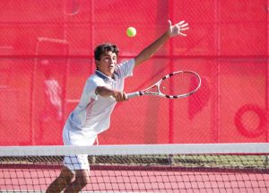SOPHOMORE NIC BARRETTO plays in the MCAL final against Tam at San Rafael. Redwood later had to forfeit the 8-1 victory due to an ineligible player.