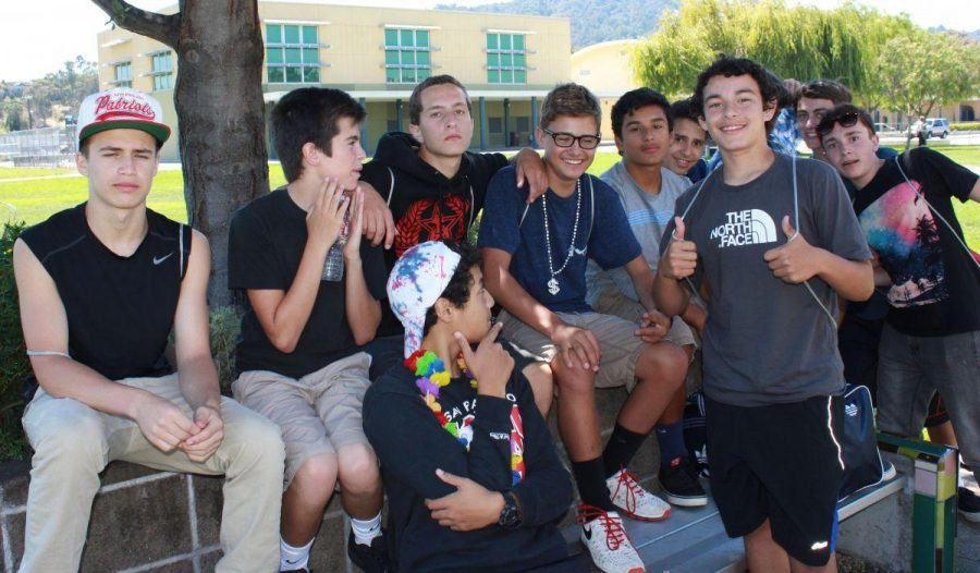 A group of freshman football players after orientation.