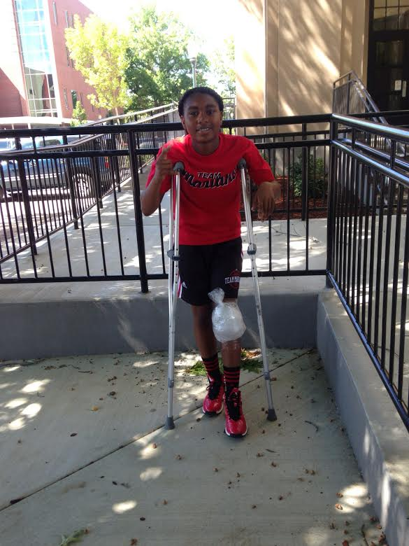 DURING AN AAU club basketball tournament over the summer, sophomore Jaiana Harris injured her ACL, forcing  her to sit out this upcoming Redwood season while she rests for the six-month to one-year recovery period.
