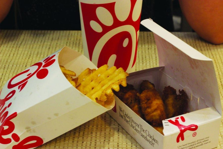 CHICKEN NUGGETS, waffle fries, and a drink sit atop a table in Novato's new Chick-fil-A.