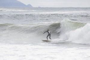 SENIOR GEFFEN HOCHSCHILD catches a wave at Fort Cronkite.