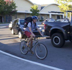 Junior Andy Ehrenberg rides his bike to school