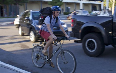Junior Andy Ehrenberg rides his bike to school