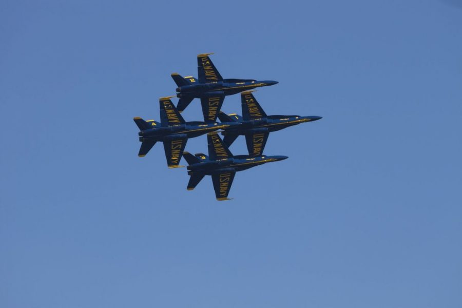 The Blue Angels fly overhead