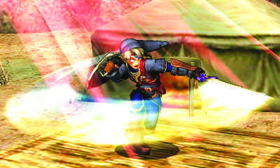 LINK, IN AN alternate costume, performs a spin attack on the Gerudo Valley stage in Super Smash Brothers for the 3DS.