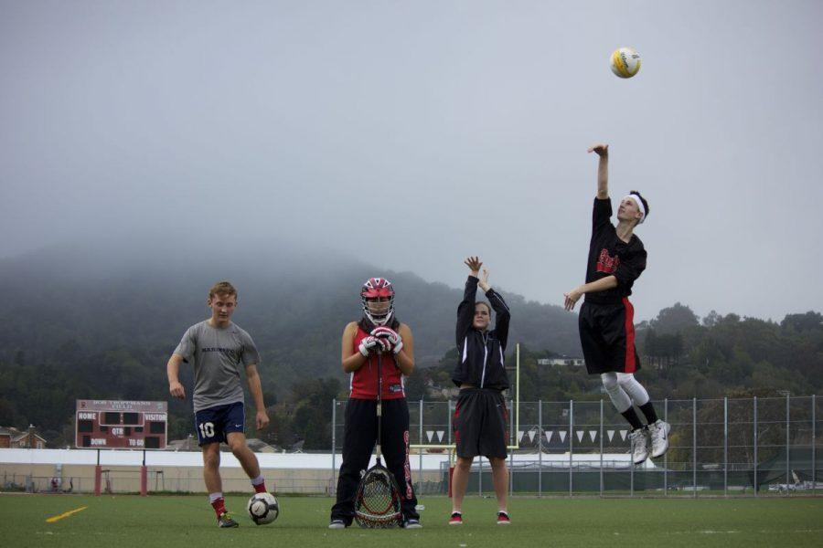 Junior Isaac Perper kicks a soccer ball, senior Christine Cook plays goalie, junior Hayden Dean shoots a basket, and junior Nate Orwig spikes a volleyball.