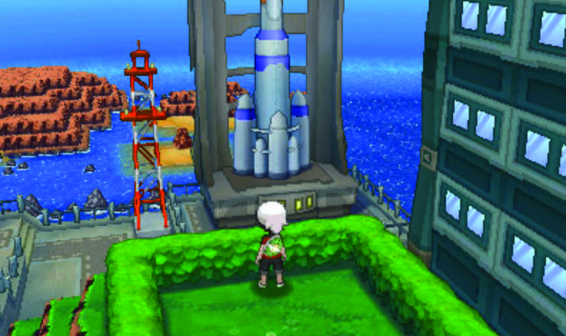 BRENDAN, the male avatar character in Pokémon Omega Ruby and Alpha Sapphire, takes a break from catching Pokémon to view Mossdeep City.