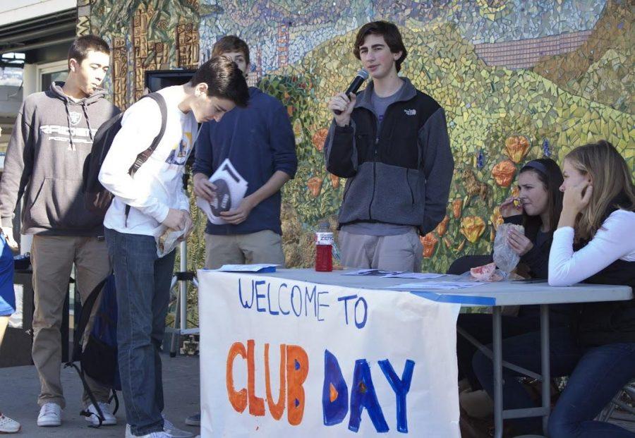 Sophomore Eric Ahern MC's Club Day.