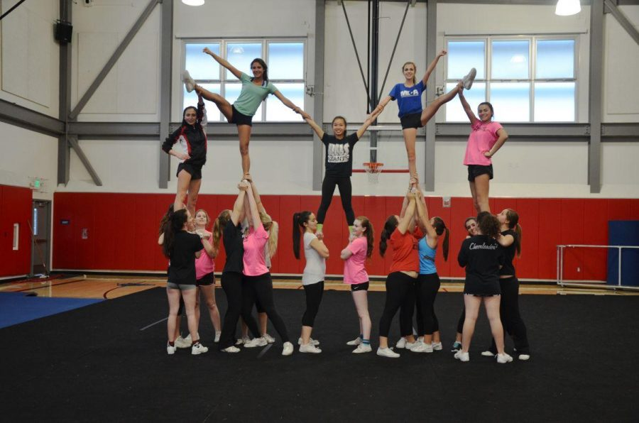 The competition cheer team practices their routine for the National Championships in Las Vegas.