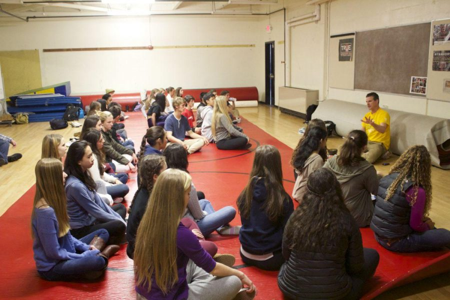 Mr.+Franklin+leads+yoga+in+the+multipurpose+room.
