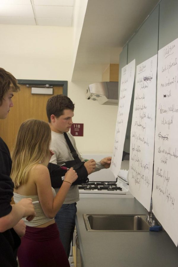 Seniors Mason Jacobs and Asta MacKie mark a piece of paper prioritizing strengths and weaknesses of Redwood High School.