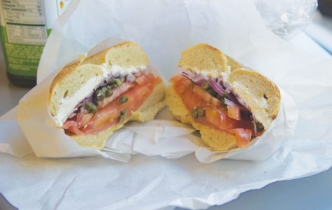 Barton's Bagels serves a crunchy bagel with lox, tomatoes, capers, and onions for $7 in downtown San Anselmo