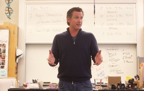 California Lieutenant Governor Gavin Newsom speaks to Redwood students