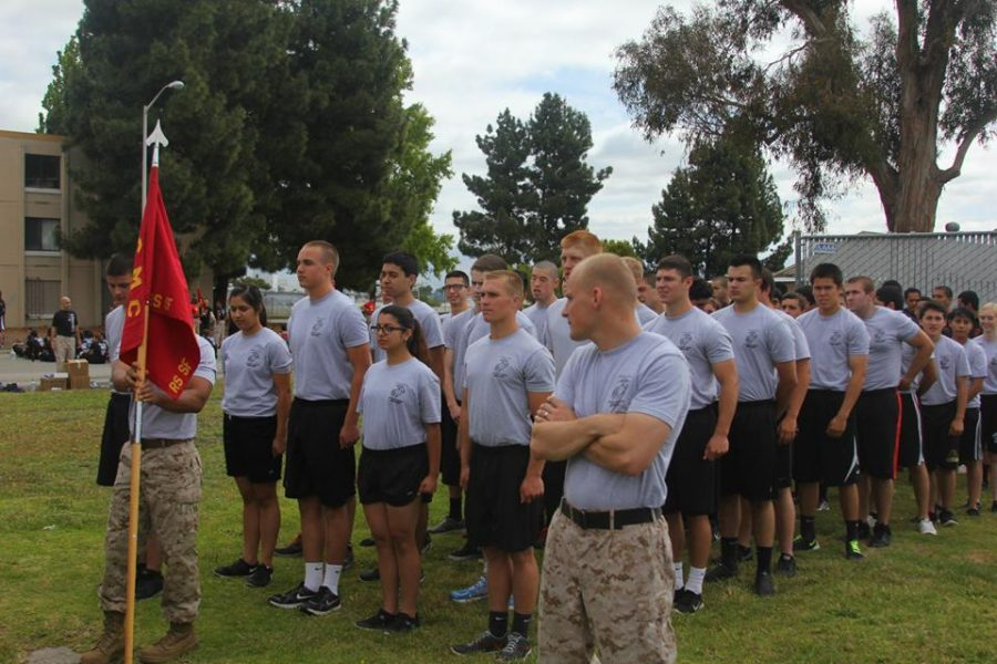 Senior Grayson Noyes trains  every Wednesday for Marine Corps recruitment at Novato Marine Corps Recruiting.