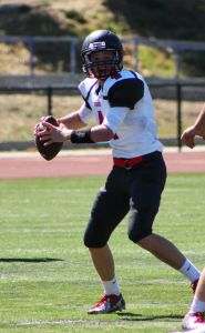 Junior Trevor Foehr winds up to throw the ball.