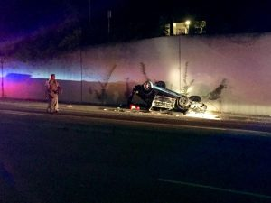 The unidentified driver's vehicle was flipped upside down after being chased by multiple police cars on Sir Francis Drake Blvd. Police suspected the driver of potential psychiatric issues due to his behavior on scene.