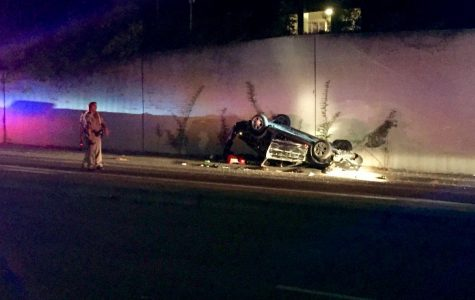 Late night police pursuit of reckless driver ends in suspect's wrecked vehicle