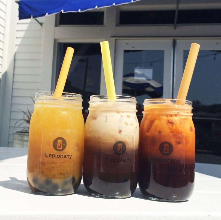 Boba teas from T.Epiphany which cost $5 with boba.