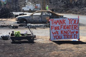 Despite the recent loss of their homes, the residents of Lake County pay tribute to the firefighters who helped them.
