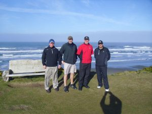 "Dibley, Kelemen, Crabtree, and Mattern at the inaugural ""Ike"" competition in Bandon Dunes, Oregon in 2012. They have now played four matches and expect to play the fifth in early 2016."