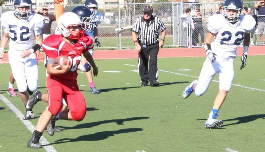 Sophomore fullback Luigi Andrade runs for the first down.
