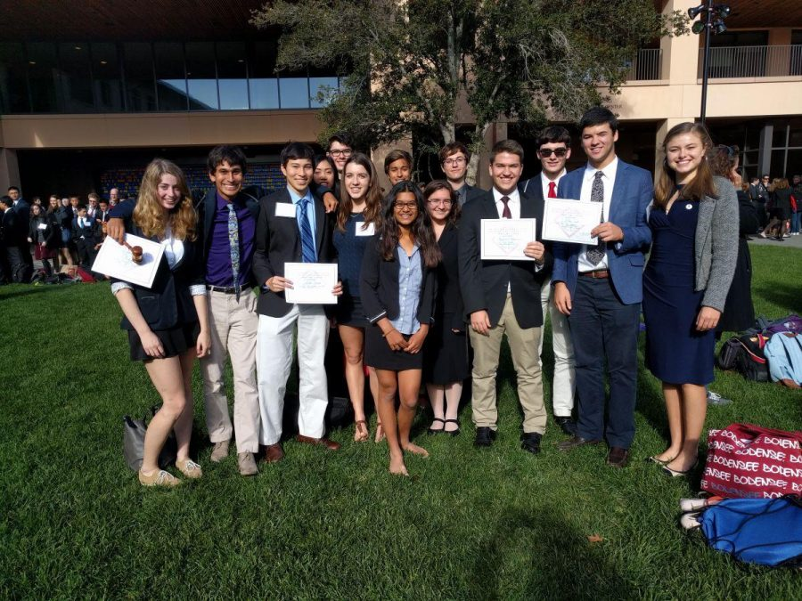 Redwood Model UN members pose together for a picture outside after the award ceremony, following their success.