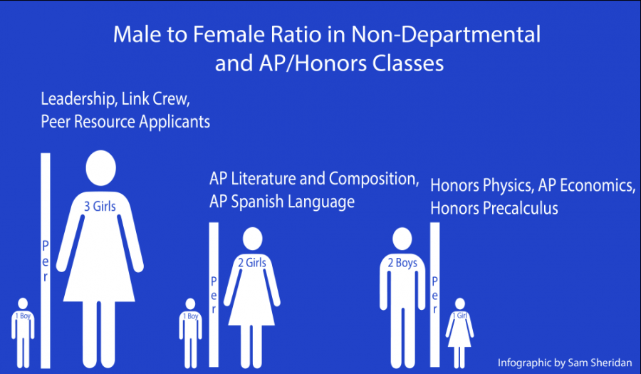 Gender gap by the numbers within AP, elective classes