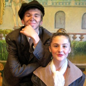 Fergus Campbell (Bert) and Caitlin Scannell (Mary Poppins) pose in character during a tech rehearsal.