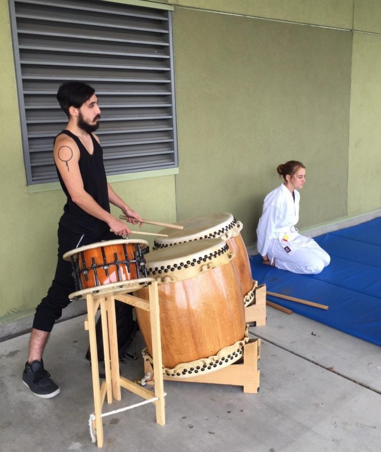 A traditional Japanese drummer accompanies the lunchtime aikido on Monday, Nov. 30. Activities were available for students to participate in throughout the entire week to raise mental health awareness.