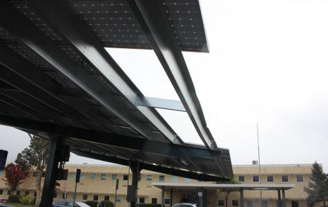 The damage to the solar structure, pictured here, was the result of the collision with a delivery truck on Thursday, Dec. 3.