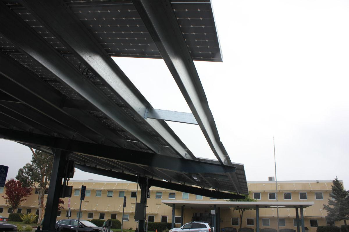 Delivery truck damages solar panel structure