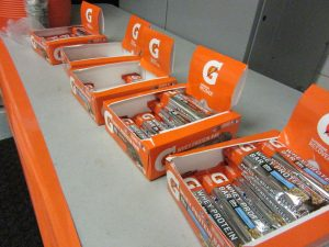 Gatorade provided workout snacks, such as energy bars, to winter athletes this past week as a part of the
