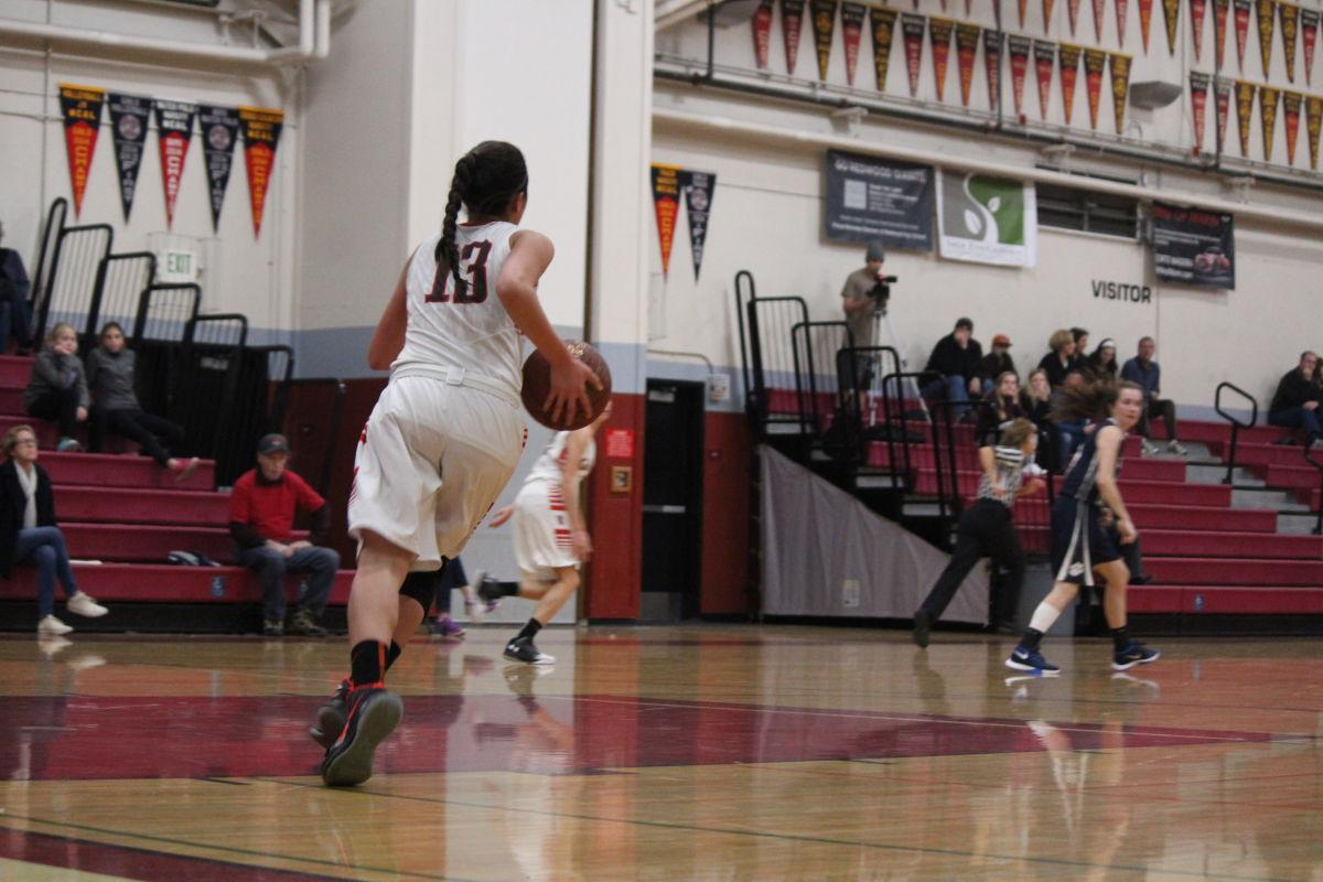 Girls' varsity basketball cruises past Marin Catholic