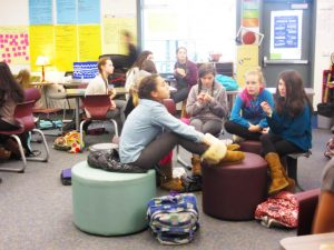 Students at Hall Middle School attend a meeting led by Emily Caindec and Mackenzie Cullens