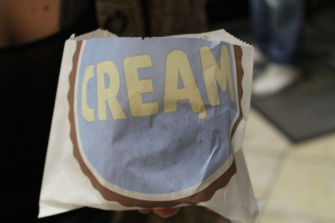 There are many cookie and ice cream flavors to choose from for an ice cream sandwich at CREAM.