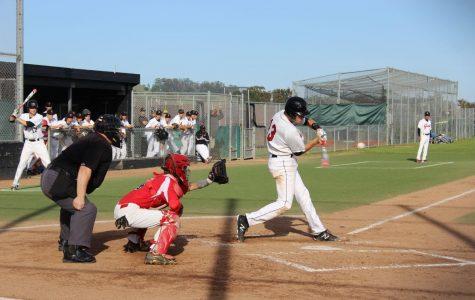 Senior Parker Laret hits a double.